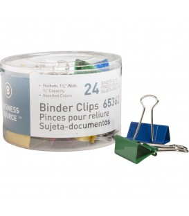 "BUSINESS SOURCE® BINDER CLIPS COLORED MEDIUM 5/8"""", BOCK OF 24 EACH"