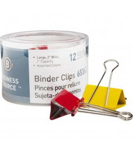 "BUSINESS SOURCE® BINDER CLIPS COLORED LARGE 1"", 12/PACK"