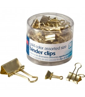 OFFICEMATE OIC® BINDER CLIPS GOLD ASSORTED, 30/PACK