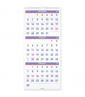 AT-A-GLANCE® 2021 THREE MONTH REFERENCE VERTICAL WALL CALENDAR, 1 EACH