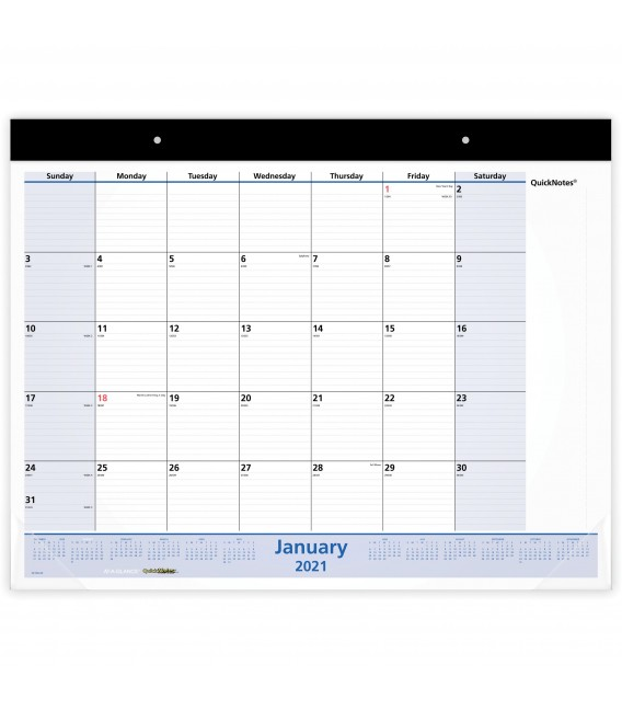 AT-A-GLANCE® 2021 QUICKNOTES  MONTHLY DESK PAD WALL CALENDAR, 1 EACH