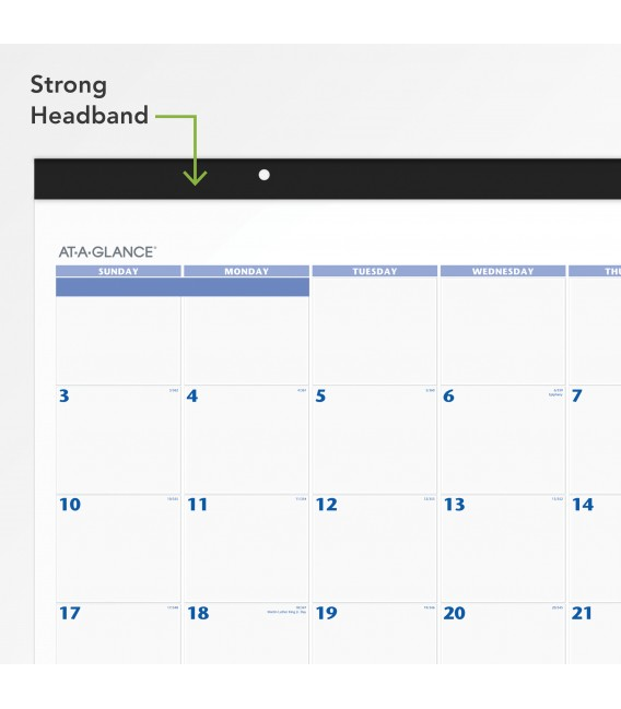 AT-A-GLANCE® 2021 MONTHLY DESK PAD WALL CALENDAR BLUE, 1 EACH