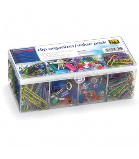 OFFICEMATE OIC® FLIP LID CLIPS ORGANIZER VALUE PACK, ASSORTED COLOR