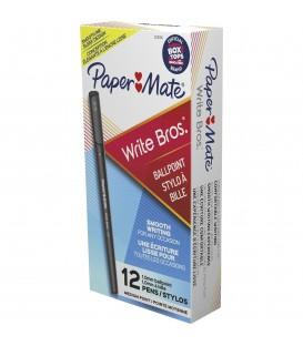 PAPER MATE® BALLPOINT STICK PENS, MEDIUM POINT, BLACK, 12/PACK
