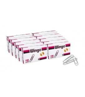 WINGO® ECONOMY N.1 PAPER CLIPS, SMOOTH, SIZE N. 1, 100 PER BOX