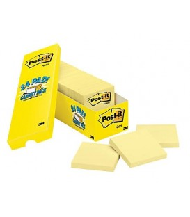 "POST-IT® SUPER STICKY NOTES, 3"" x 3"", CANARY YELLOW, 24 PADS/CABINET PACK"