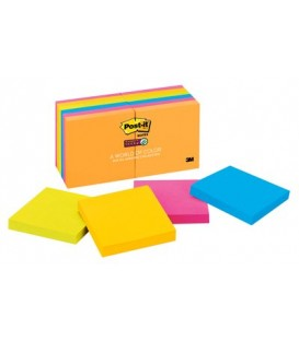 "POST-IT® SUPER STICKY NOTES, 3"" X 3"", RIO DE JANEIRO COLLECTION, 12 PADS/PACK"