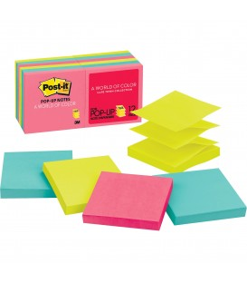 "POST-IT® POP-UP NOTES, 3"" x 3"", CAPE TOWN COLLECTION, 12 PADS/PACK"