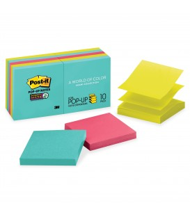 "POST-IT® SUPER STICKY POP-UP NOTES, 3"" X 3"", MIAMI COLLECTION, 10 PADS/PACK"