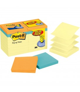 "POST-IT® POP-UP NOTES NOTES VONUS VALUE PACK 3"" X 3"", CAPE TOWN COLLECTION, 18 PADS/PACK"