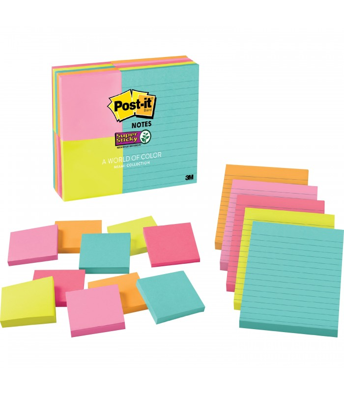 Post It Super Sticky Notes Assored Size 3 X 3 4 X 6 Miami