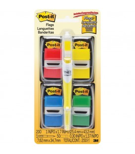 "POST-IT® FLAGS 1"" WIDE, ASSORTED COLORS, 200 FLAGS/PACK"