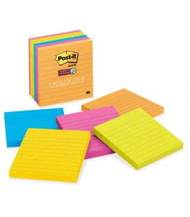 "POST-IT® SUPER STICKY NOTES, 4"" X 4"" RIO DE JANEIRO COLLECTION, LINED 6 PADS/PACK"