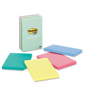 "POST-IT® NOTES, 4"" X 6"", MARSEILLE COLLECTION, LINED 5 PADS/PACK"