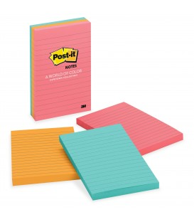 "POST-IT® NOTES, 4"" X 6"", CAPE TOWN COLLECTION, LINED 3 PADS/PACK"