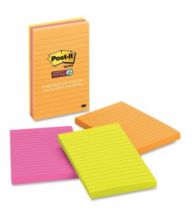 "POST-IT® SUPER STICKY NOTES, 4"" X 6"", RIO DE JANEIRO COLLECTION, LINED, 3 PADS/PACK"