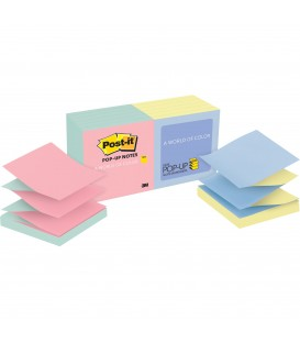 "POST-IT® POP-UP NOTES, 3"" X 3"", MARSEILLE COLLECTION, 12 PADS/PACK"
