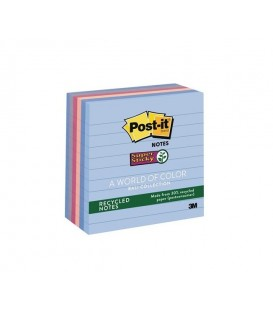 "POST-IT® RECYCLED SUPER STICKY NOTES, 4"" x 4"", BALI COLLECTION, LINED, 6 PADS/PACK"