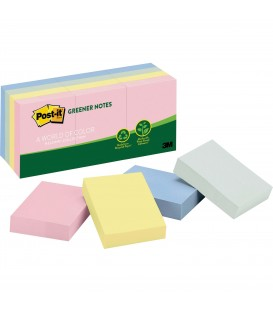 "POST-IT® RECYCLED NOTES, 1 1/2"" x 2"", HELSINKI COLLECTION, 12 PADS/PACK"