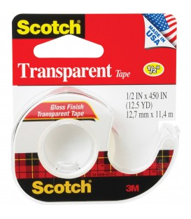 "SCOTCH® TRANSPARENT TAPE, 1/2"" x 450"", 1 DISPENSER/PACK"