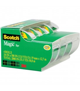 "SCOTCH® MAGIC™ TAPE, 3/4"" X 500"", 4 BOX/PACK"