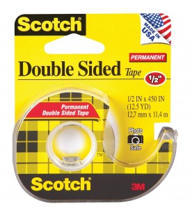 "SCOTCH® DOUBLE-SIDED TAPE 1/2"" x 450"", 1 DISPENSER/PACK"