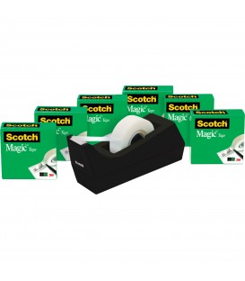 "SCOTCH® MAGIC™ TAPE, 3/4"" x 1,000"", 6 BOXES TAPE AND 1 DISPENSER C38"