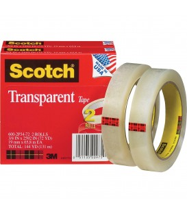 "SCOTCH® TRANSPARENT TAPE, 3/4"" x 2592"", 2/Pack"