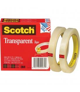 """SCOTCH® TRANSPARENT TAPE, 1/2"""" x 2592"""", 2/Pack"""