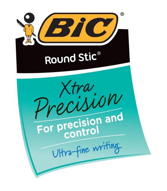 BIC® ROUND STIC® XTRA-PRECISION BALL POIN, BLUE 1DOZEN