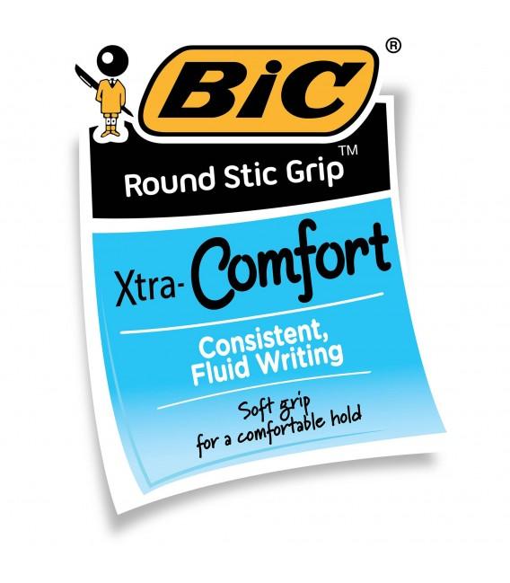 BIC® ROUND STIC®, GRIP XTRA-CONFORT BALL POIN, BLK/BLU, 36 PACK