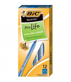 BIC® ROUND STIC®, XTRA-LIFE BALL POINT PEN, BLUE DOZEN