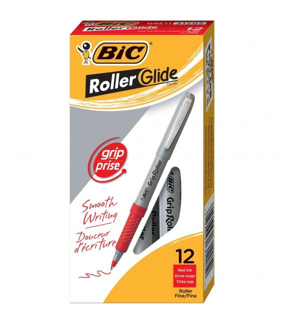 BIC® GRIP ROLLER-GLIDE™, ROLLER PEN, RED DOZEN