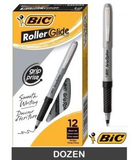 BIC® GRIP ROLLER-GLIDE™, ROLLER PEN, BLACK DOZEN